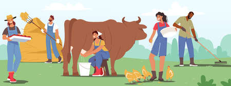 Male and Female Farmer Characters Working with Cattle on Farm. People Doing Farming Job as Feeding Fowls and Animals