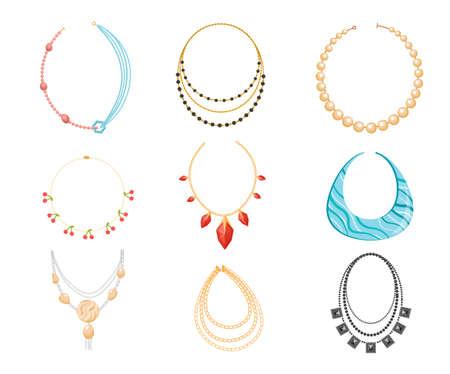 Necklace, Beads Boho Style Jewelry Made of Precious or Semi-precious Gemstones. Bijoux for Women, Gold Metal and Rocks Ilustração