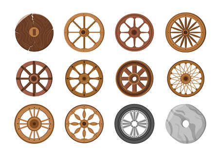 Wheels Evolution from Old Primitive Stone Ring and Ancient Wooden to Modern Transport Wheel. Transportation Invention