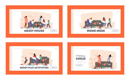 Home Mess Landing Page Template Set. Father and Mother Shocked with Naughty Hyperactive Children Characters Fighting