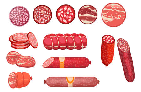 Salami, Pepperoni Smoked Sausage, Beef Meat and Ham Farm or Butcher Store Production. Bacon, Boiled Sausage Delicatessen Ilustração