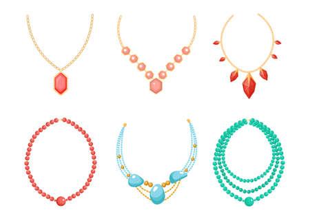 Necklace, Beads Jewelry Isolated on White Background. Precious or Semi-precious Gem Stones Jewels, Bijoux for Women Ilustração