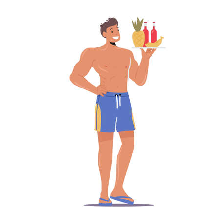 Male Character Wear Slippers and Swimming Shorts Holding Tray with Pineapple, Banana Fruits and Bottles Fresh Cocktail