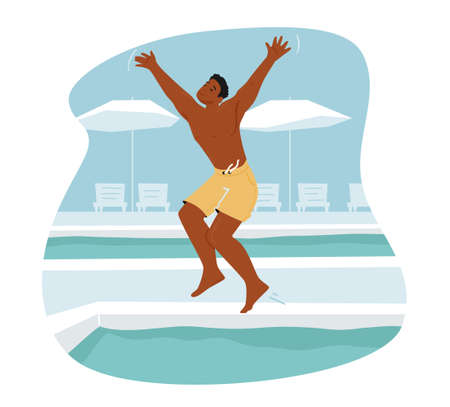 Young Man Relaxing at Poolside in Hotel or Yacht . Summertime Vacation, Happy Male Character Resting, Jumping to Water