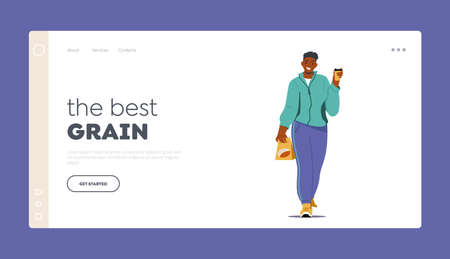 Man Buying Coffee Grains Landing Page Template. Man Character with Coffee Beans in Pack and Takeaway Cup in Hand