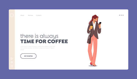 Morning Takeaway Drink Refreshment Landing Page Template. Young Businesswoman Character in Formal Wear Drinking Coffee