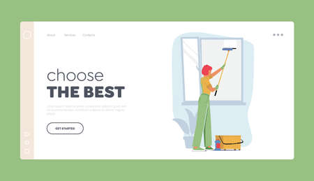 Professional Cleaning Service Company Landing Page Template. Female Character in Uniform Washing Window with Scraper