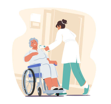 Nurse or Doctor Measuring Temperature to Elderly Woman Sitting at Wheelchair with Distant Thermometer during pandemic
