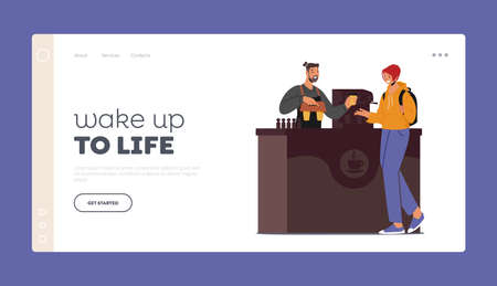Woman Buying Coffee To Go in Cafe Landing Page Template. Beverage Retail, Takeaway Cold and Hot Drinks, Street Food