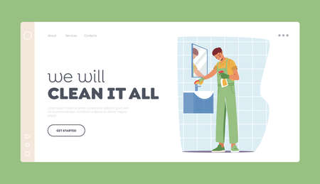 Cleaning Service Landing Page Template. Character in Uniform Washing Mirror and Sink in Bathroom. Professional Cleaning 向量圖像