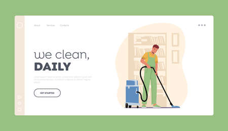 Cleaning Company Service Landing Page Template. Male Character, Washing, Sweeping and Mopping Floor with Vacuum Cleaner 向量圖像