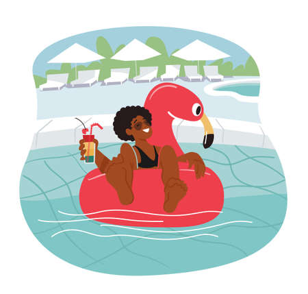 Female Character Relax at Poolside Floating on Inflatable Ring in Swimming Pool and Drink Cocktail. Summertime Leisure