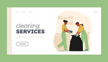 Cleaning Service Worker Duties Landing Page Template. Janitors in Uniform Collect Garbage to Plastic Sack Cleaning Home