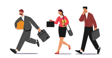 Business Characters Hurry at Work due to Oversleep or Traffic Jam. Businessmen or Businesswomen with Bags Late in Office