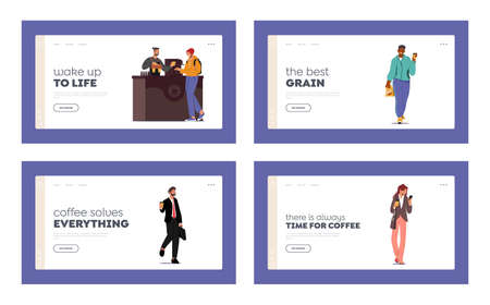 People Buying Coffee To Go Landing Page Template Set. Takeaway Drinks in Disposable Cups. Characters Morning Refreshment 向量圖像