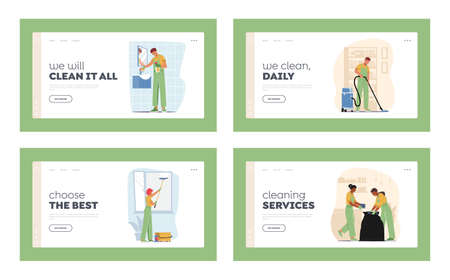 Professional Cleaners Service Work Landing Page Template Set. Characters in Uniform with Equipment Cleaning Windows 向量圖像