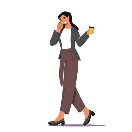 Business Woman Morning Takeaway Drink Refreshment. Young Businesswoman Character in Formal Wear Drinking Coffee