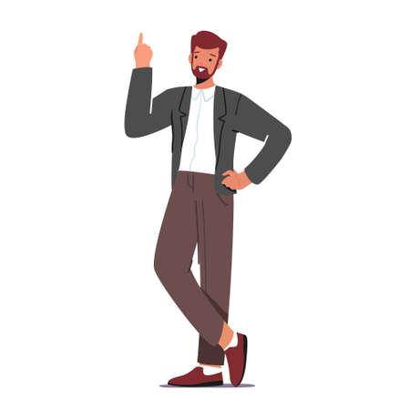 Businessman Having Great Inspiration Insight, Creative Idea. Business Man Holding Index Finger Up, Eureka, Task Solution