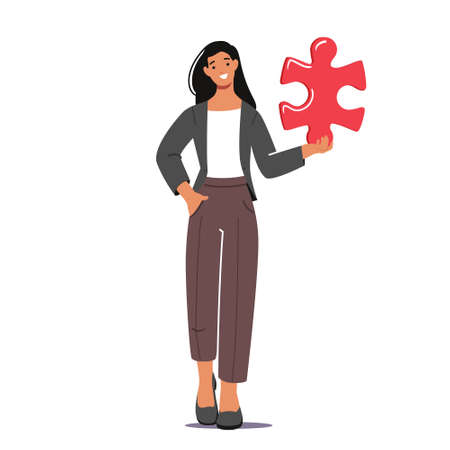 Young Woman Character Hold Huge Puzzle Piece Isolated on White Background. Teamwork Cooperation, Solution, Creative Idea 向量圖像