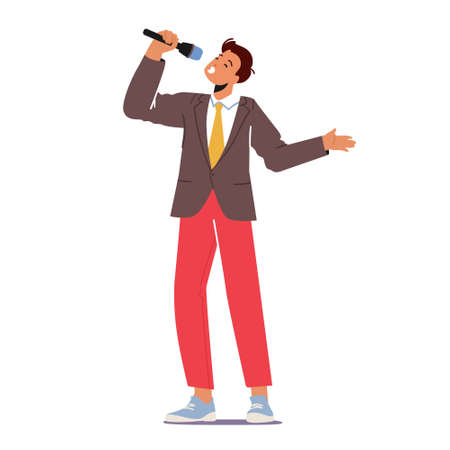 Happy Man Having Fun Singing at Karaoke Bar or Night Club. Male Character with Great Mood Having Party Performing Song