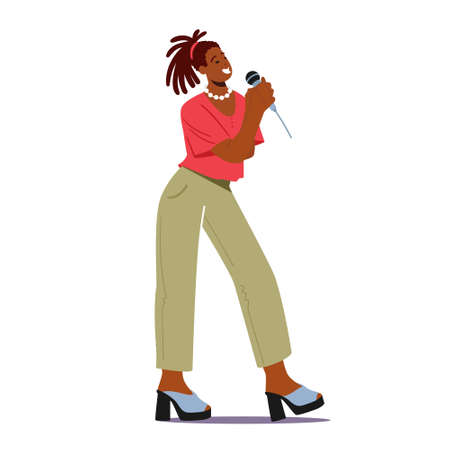 Super Star Singing Song. African Woman on Stage Performing Composition in Karaoke Bar. Artist Female Characters Singing