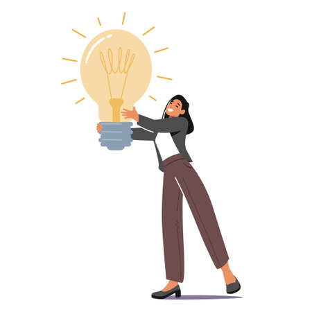 Tiny Female Character with Huge Glowing Light Bulb in Hands. Businesswoman Has Creative Idea, Muse, Business Vision