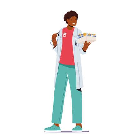 Medical Volunteering Concept. Doctor Male Character with Volunteer Emblem Holding Medicine for Diseased People