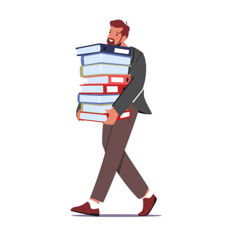 Overworked Businessman Carry Huge Steak of Documents Folders. Workaholic Office Character, Employee Overload at Work 向量圖像