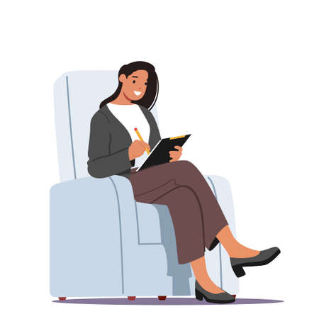 Businesswoman Wearing Formal Wear Sitting in Armchair Writing Paper Document, Read Applicant Cv, Conduct Interview