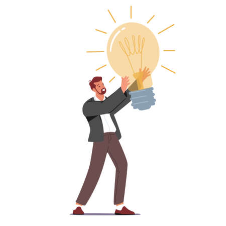 Creative Idea Concept. Tiny Businessman Character Holding Huge Glowing Light Bulb Having Great Inspiration and Insight