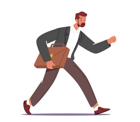 Business Character Late in Office, Anxious Businessman Hurry at Work due to Oversleep or Traffic Jam. Businessman Run 向量圖像