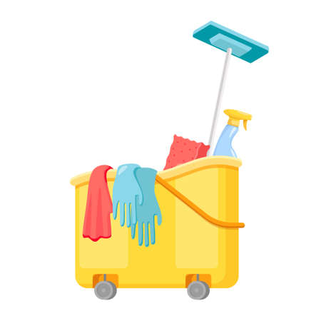 Janitor Cart with Mop, Sponge or Gloves with Detergent. Cleaning Service Equipment, Maid Tools for Washing, Housekeeping