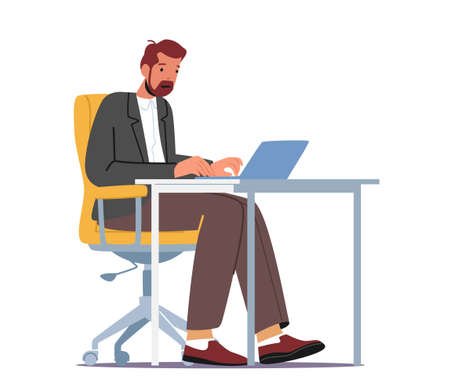 Business Man Character Working on Laptop Sitting at Desk Workplace in Office or Home. Manager, Clerk Work on Computer