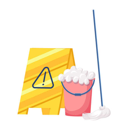 Cleaning Service Equipment Bucket with Soap Foam, Broom and Yellow Warning Sign. Maid Tools for Washing and Work 向量圖像