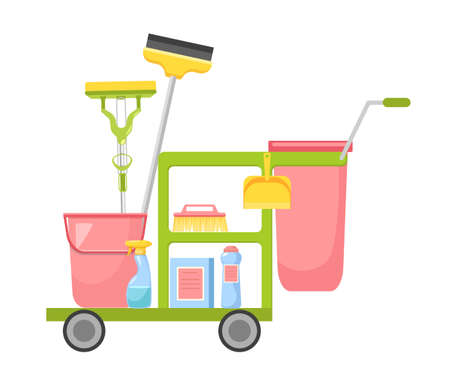 Janitor Cart with Cleaning Service Equipment Brush, Scraper, Detergent, Bucket Tools for Washing and Housekeeping Works 向量圖像