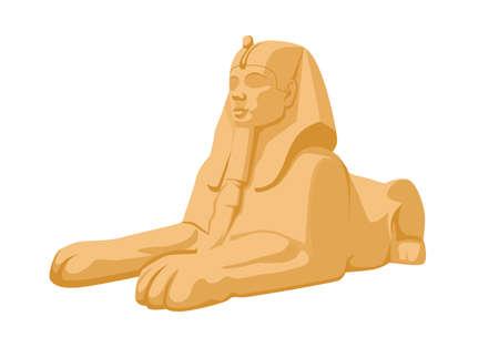 Egyptian Sphinx Isolated on White Background, Ancient Egypt Landmark, Statue in Giza Desert, Stone Monument, Tomb