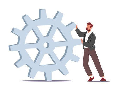 Tiny Businessman Character Moving Huge Cogwheel. Man in Formal Wear Push Gears Develop New Strategy, Work Productivity 向量圖像