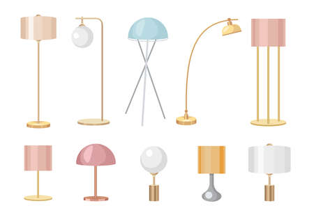 Set of Table Work Lamps, Desk Bulbs and Floor Torcheres of Modern Design with Shades. Electric Supplies for Home Decor 向量圖像