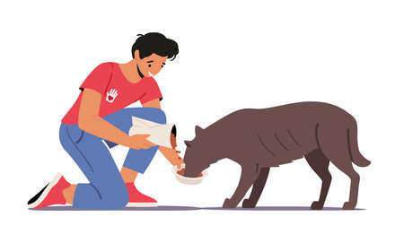 Animal Volunteering Concept. Volunteer Character Feed Dog in Shelter or Pound. Young Man Giving Food to Homeless Puppy 向量圖像
