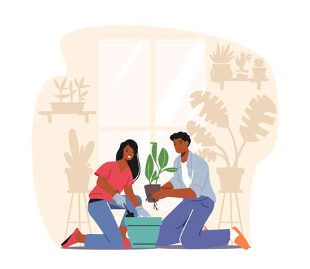Happy Couple Taking Care of Home Plants. Male and Female Characters Enjoying Gardening Growing Houseplants 向量圖像