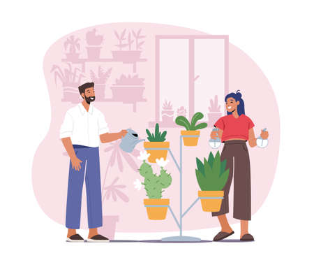 Man and Woman Spraying and Water Flowers on Shelf with Watering Can. Happy Couple Characters Take Care of Home Plants 向量圖像