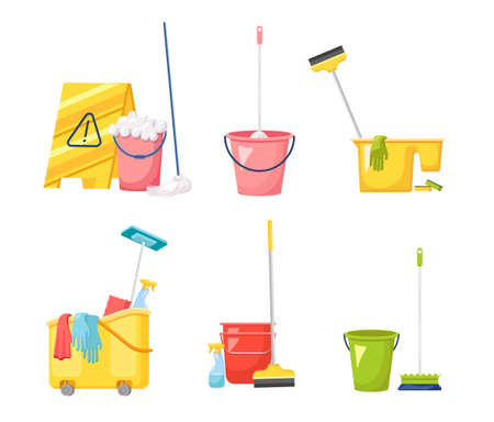 Set of Cleaning Service Equipment, Maid Tools for Washing and Housekeeping Works. Sign, Bucket with Soap, Brush, Mop
