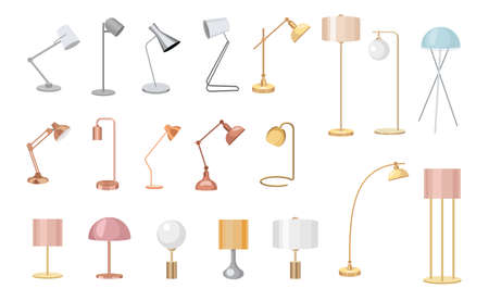 Set of Modern Table and Floor Lamps for Work and Room Illumination. Desk Bulbs Isolated on White Background 向量圖像