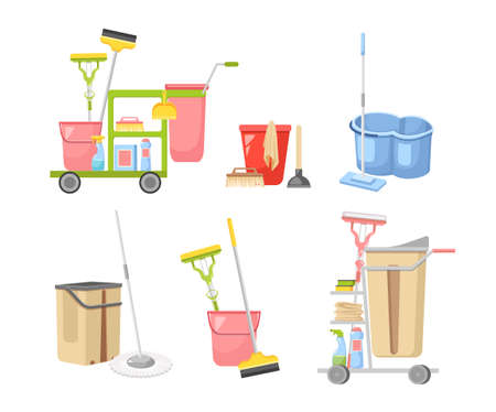 Set of Cleaning Service Equipment Janitor Mop, Detergent Bottle, Plunger, Brush Maid Tools for Washing and Housekeeping