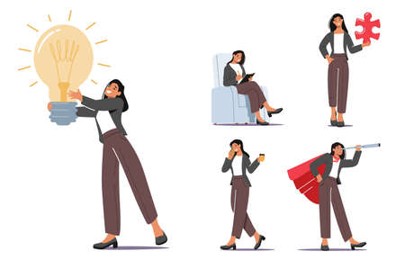 Set Businesswoman Character Daily Routine Speaking by Smartphone, Develop Creative Idea, Teamwork Cooperation 向量圖像