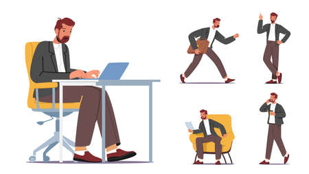 Set Businessman Work in Office Sitting at Desk with Laptop, Late, Having Creative Idea, Reading Report and Talk by Phone