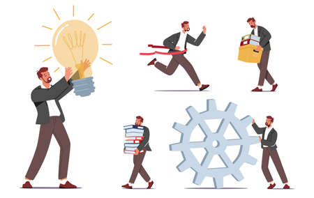 Set Businessman Character Daily Routine, Office Lifestyle and Activity. Business Man with Light Bulb and Huge Cogwheel