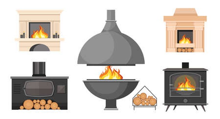 Set Fireplaces, Traditional and Modern Style Indoor Chimneys with Burning Fire and Logs. Home Fireside, Heating System