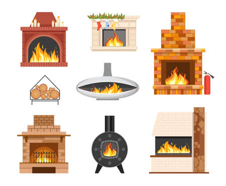 Set of Home Brick and Metal Fireplaces with Burning Fire, Forgery, Xmas Decor and Grating. Indoors Chimney