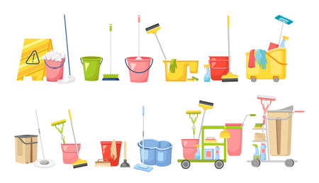 Set of Cleaning Service Equipment, Supplies for Washing Room. Janitor Cart with Maid Tools for Washing and Housekeeping